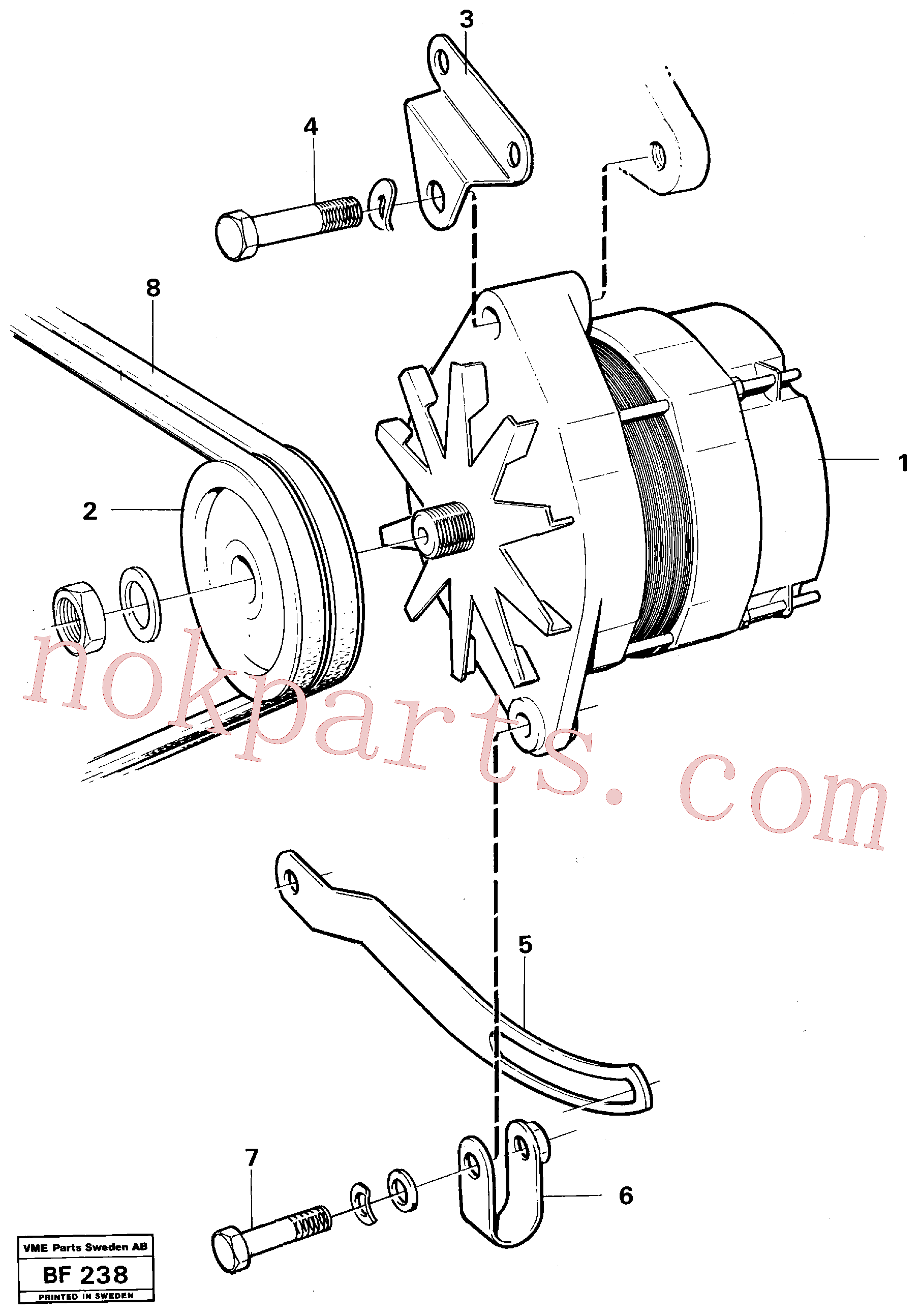 VOE971005 for Volvo Alternator with assembling details(BF238 assembly)