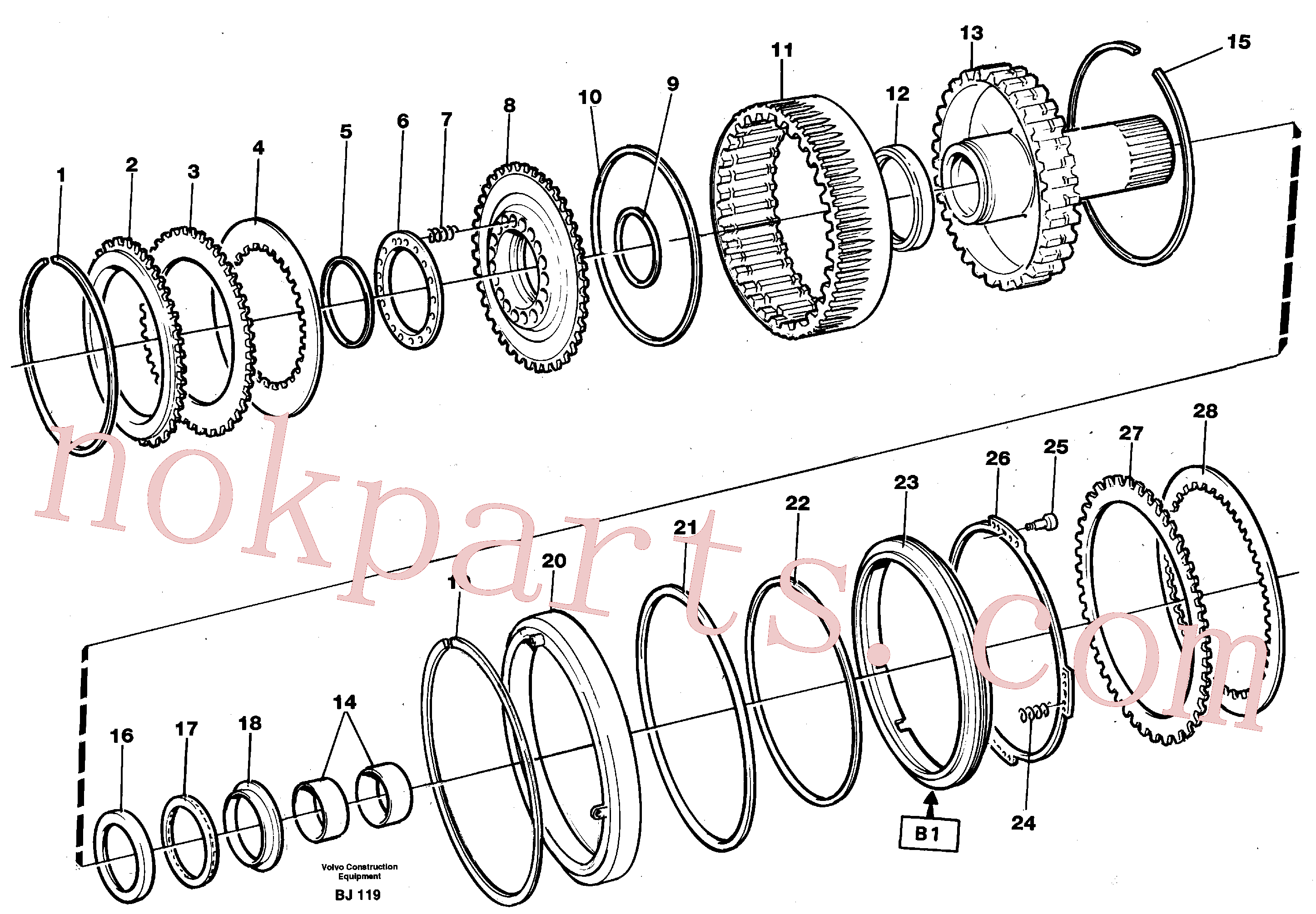 VOE11145596 for Volvo Clutch and brake(BJ119 assembly)