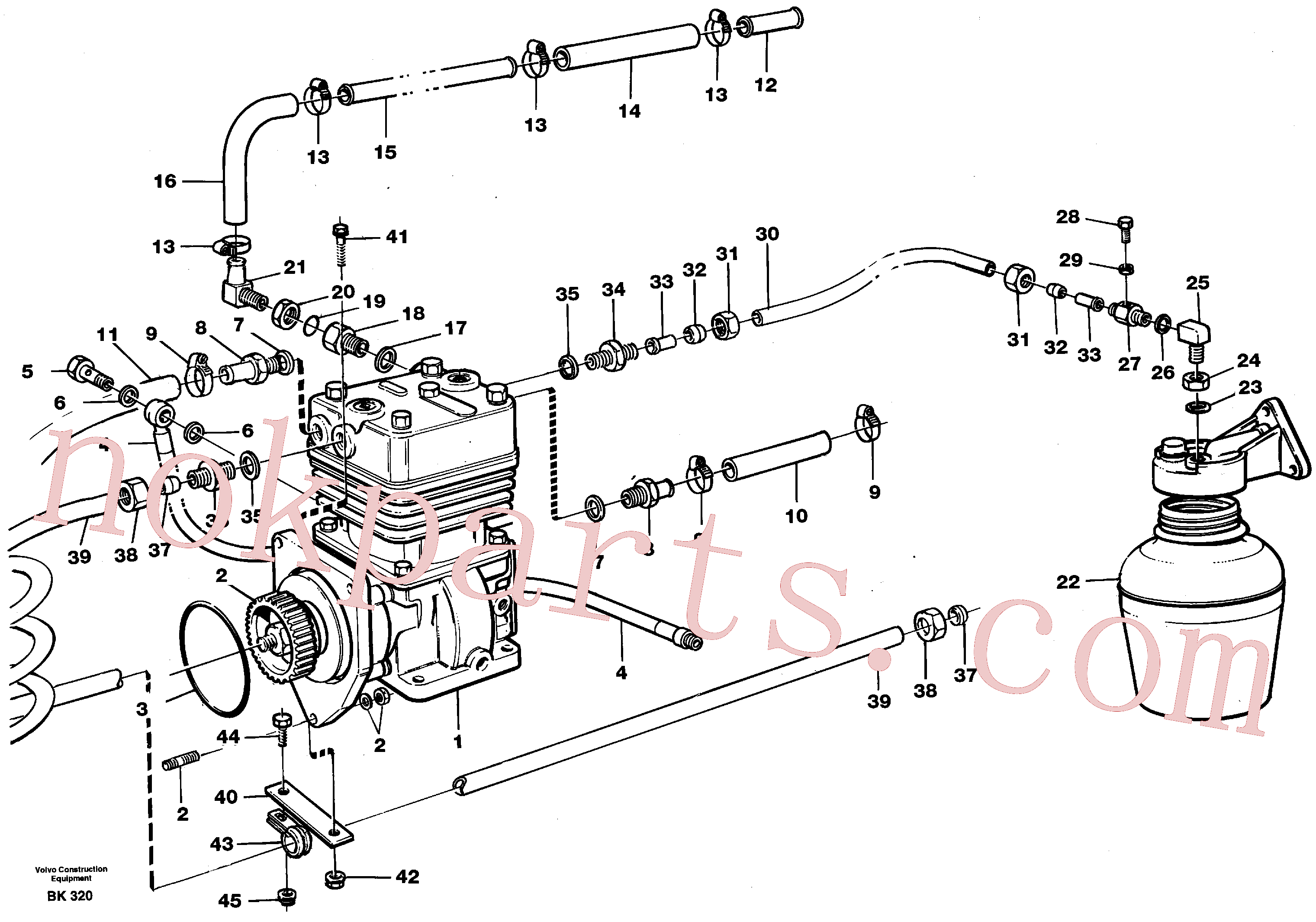 VOE13945892 for Volvo Air-compressor with fitting parts(BK320 assembly)