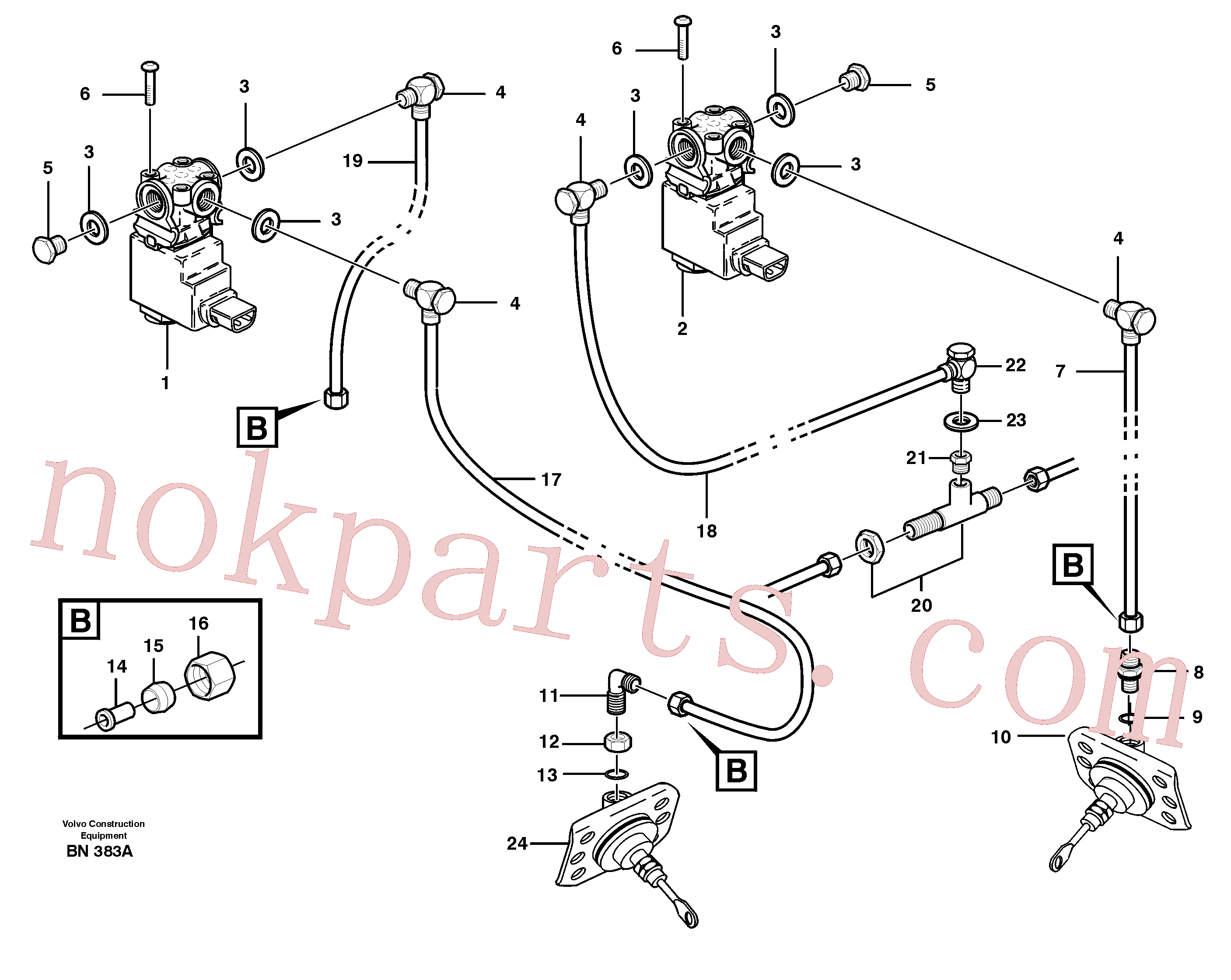 VOE7011994 for Volvo Pneumatic system, diff lock, cab(BN383A assembly)