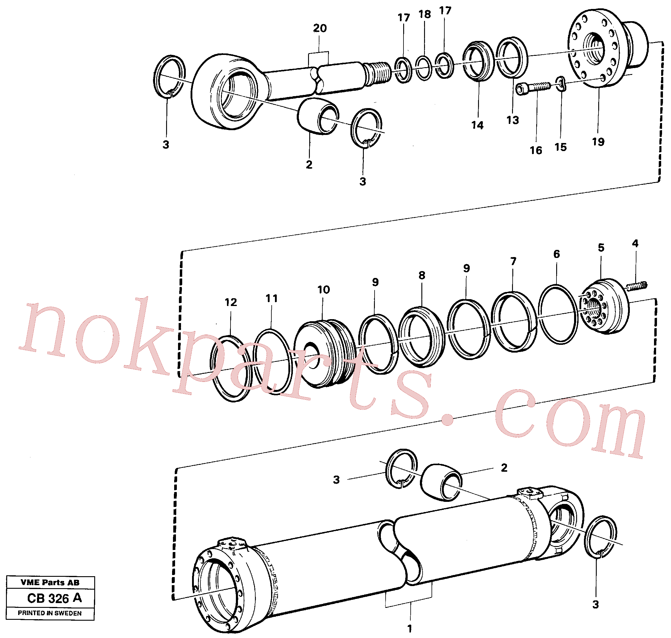 VOE11005208 for Volvo Dipperstick cylinder(CB326A assembly)
