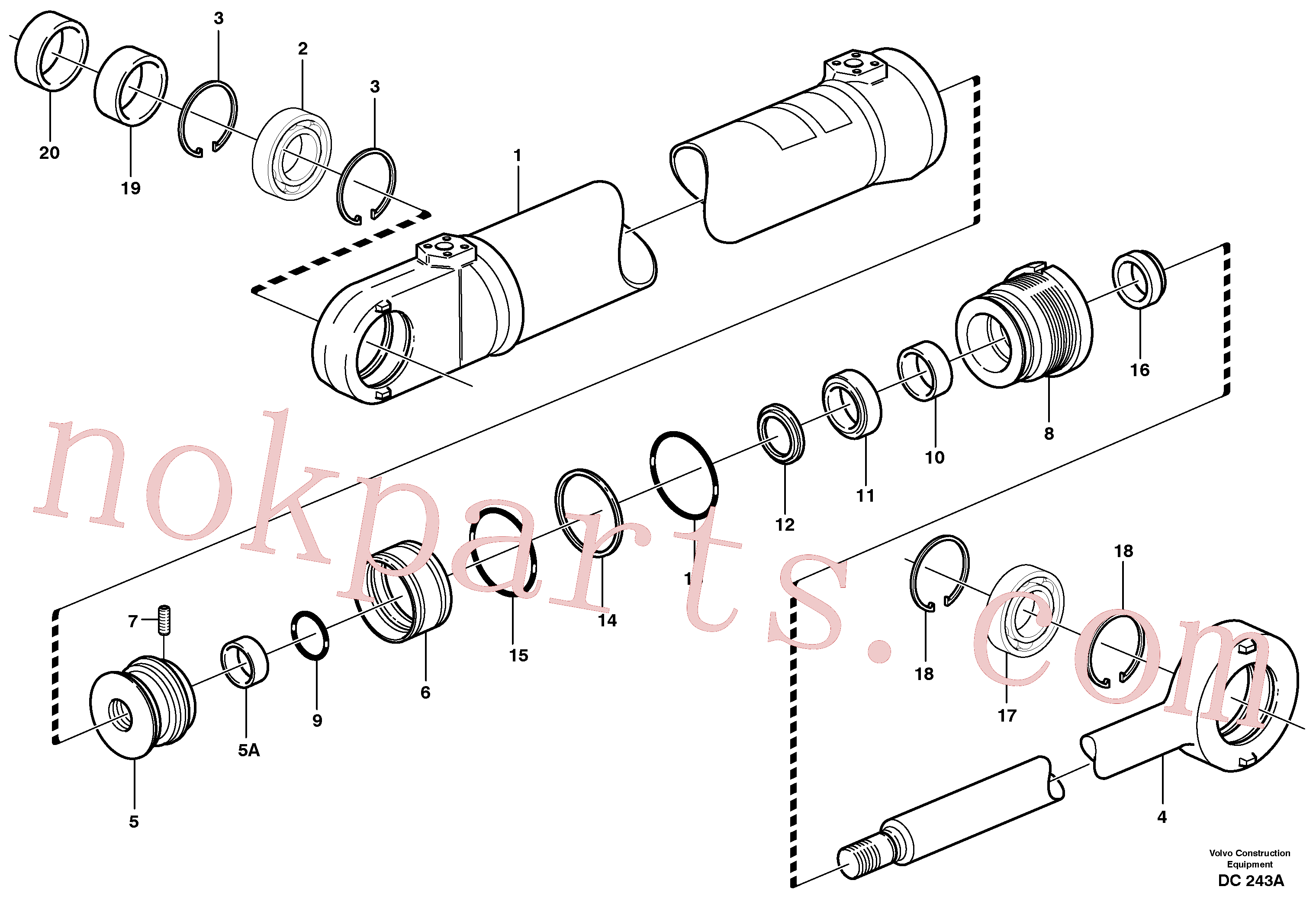 VOE11704121 for Volvo Hydraulic cylinder(DC243A assembly)