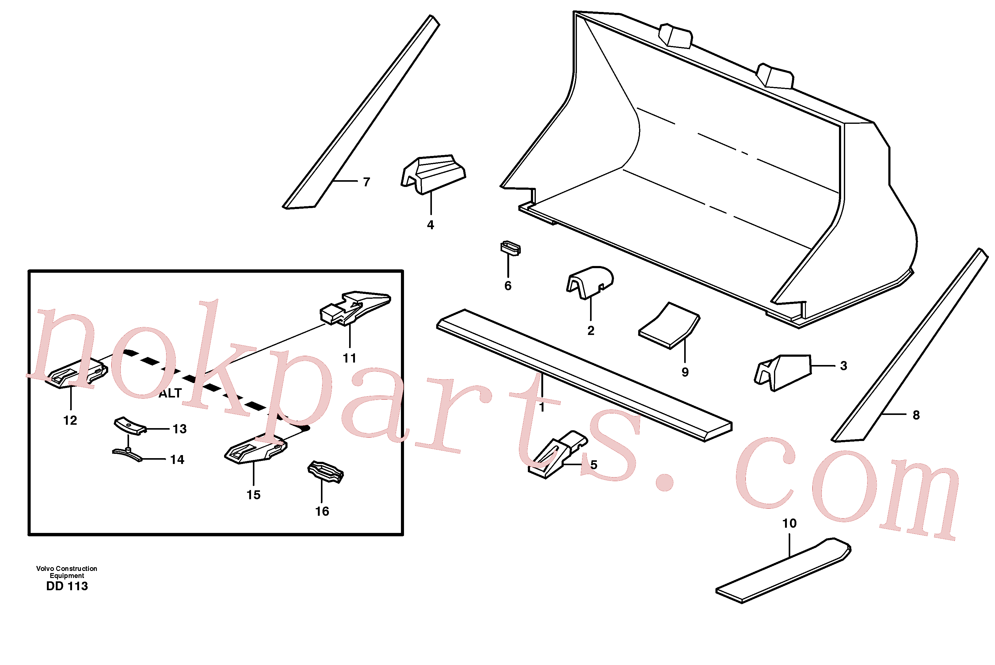 VOE4786501 for Volvo Bucket, straight with teeth(DD113 assembly)