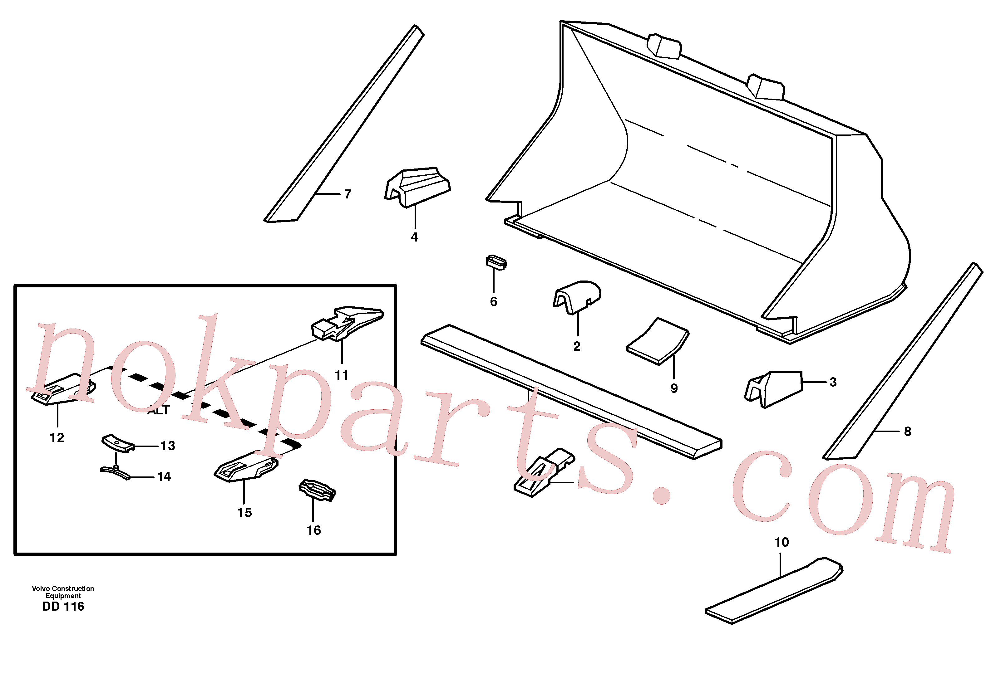 VOE4786501 for Volvo Bucket, straight with teeth(DD116 assembly)