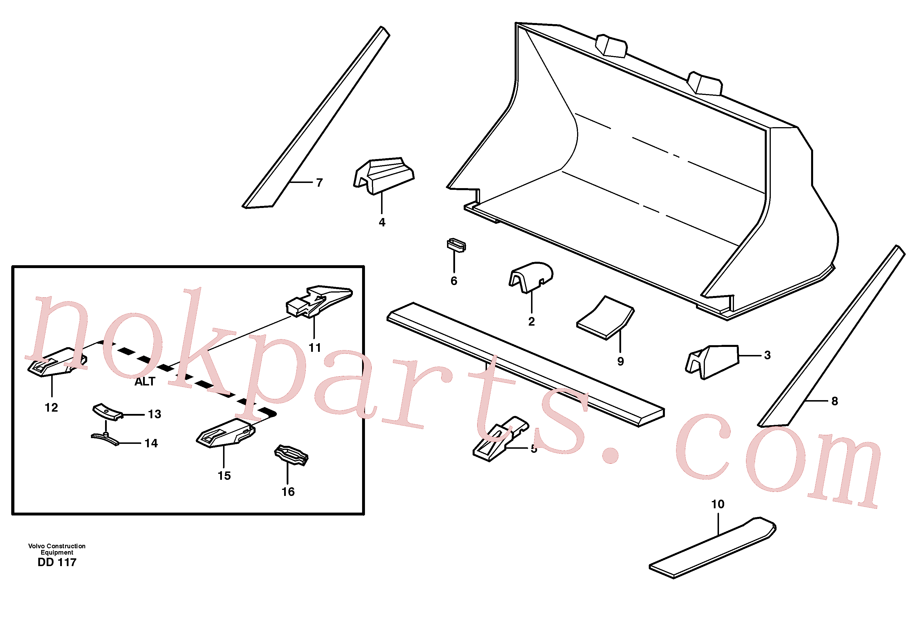 VOE4786501 for Volvo Bucket, straight with teeth(DD117 assembly)