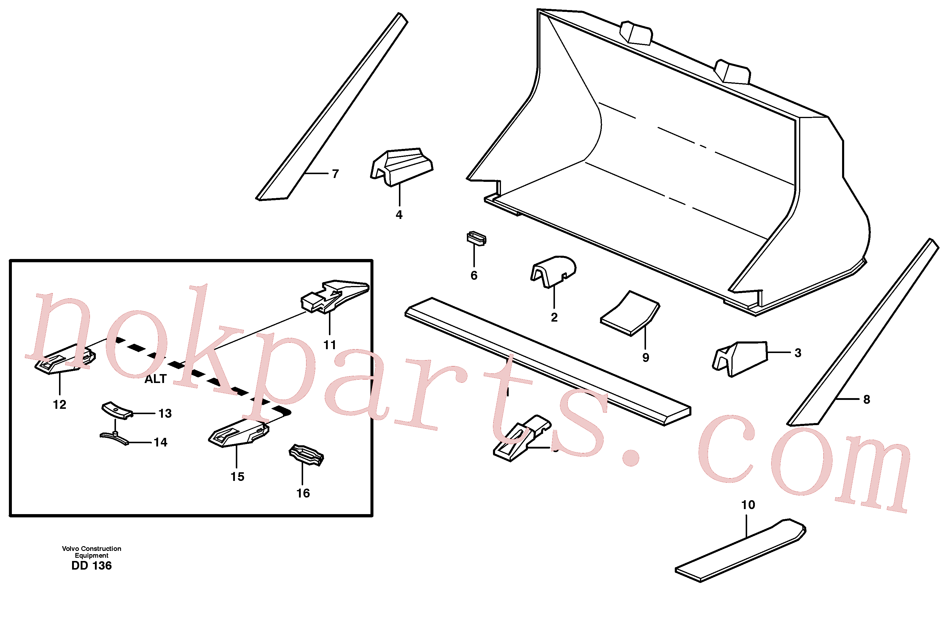 VOE4786501 for Volvo Bucket, straight with teeth(DD136 assembly)