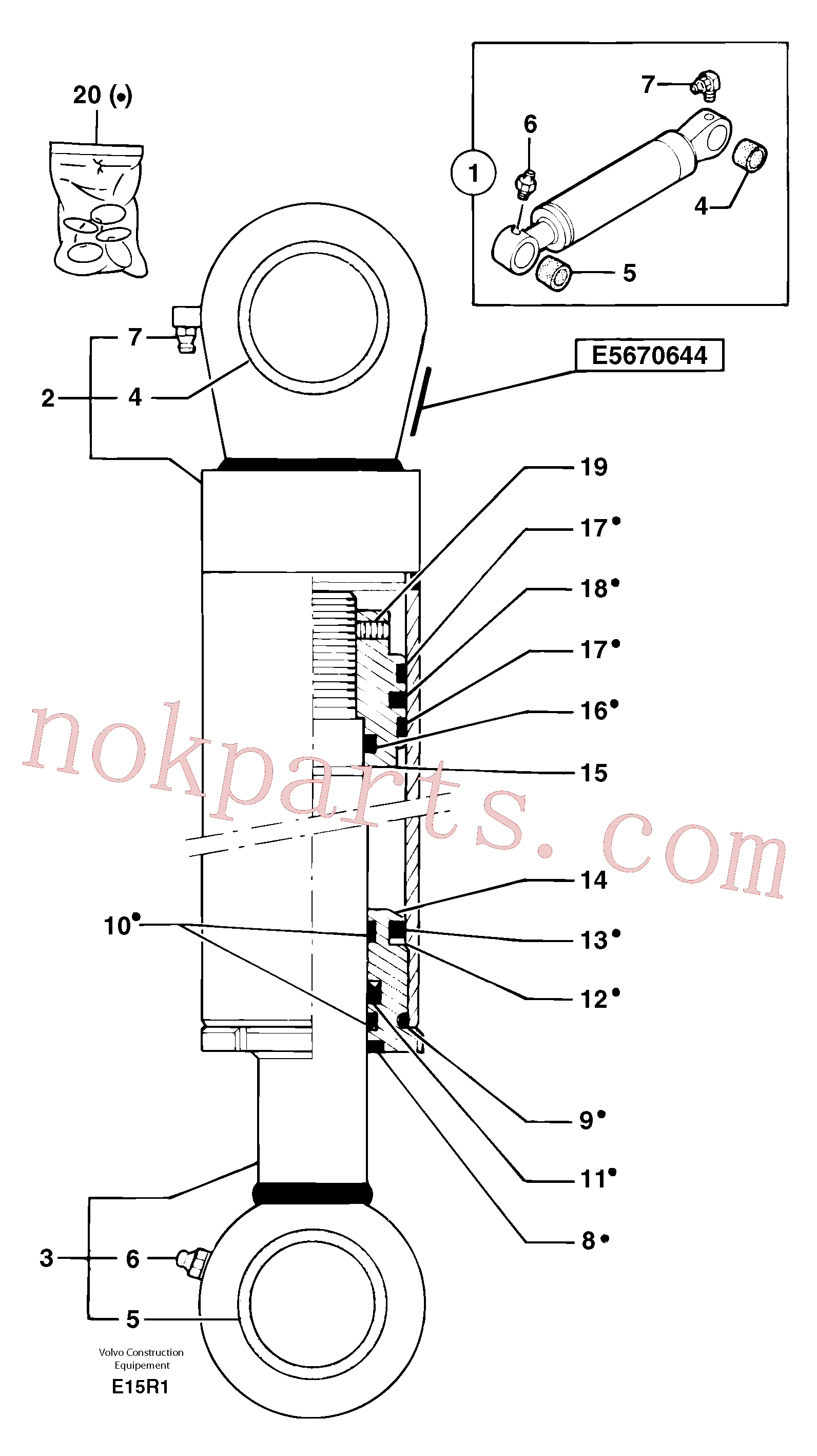 PJ3870083 for Volvo Bucket cylinder(E15R1 assembly)