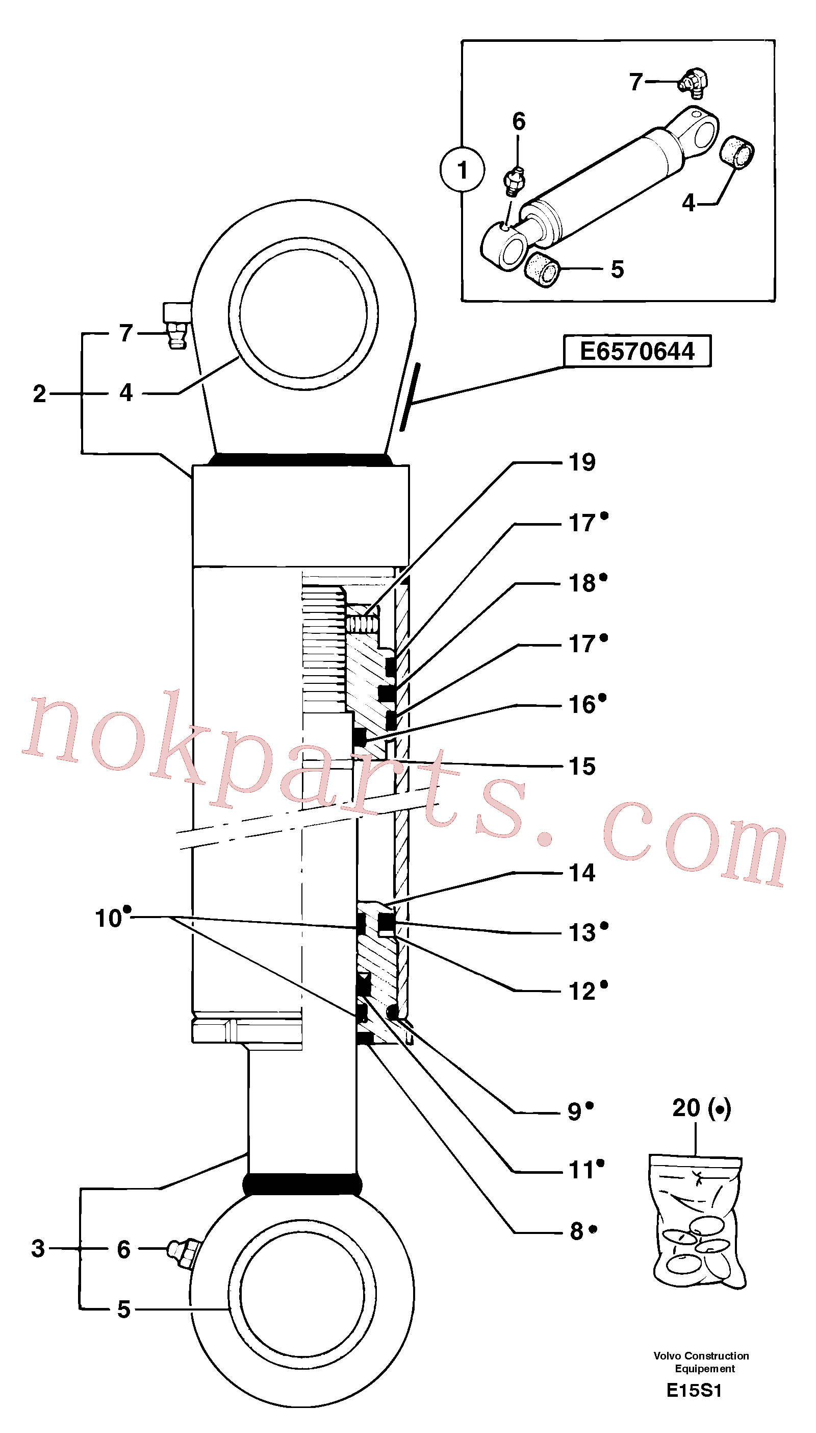 PJ3870083 for Volvo Bucket cylinder(E15S1 assembly)