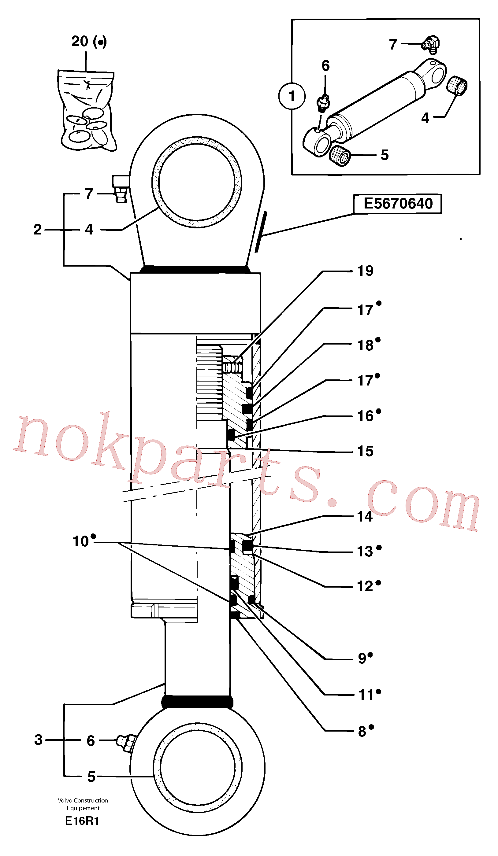 PJ3870083 for Volvo Dozer blade cylinder(E16R1 assembly)