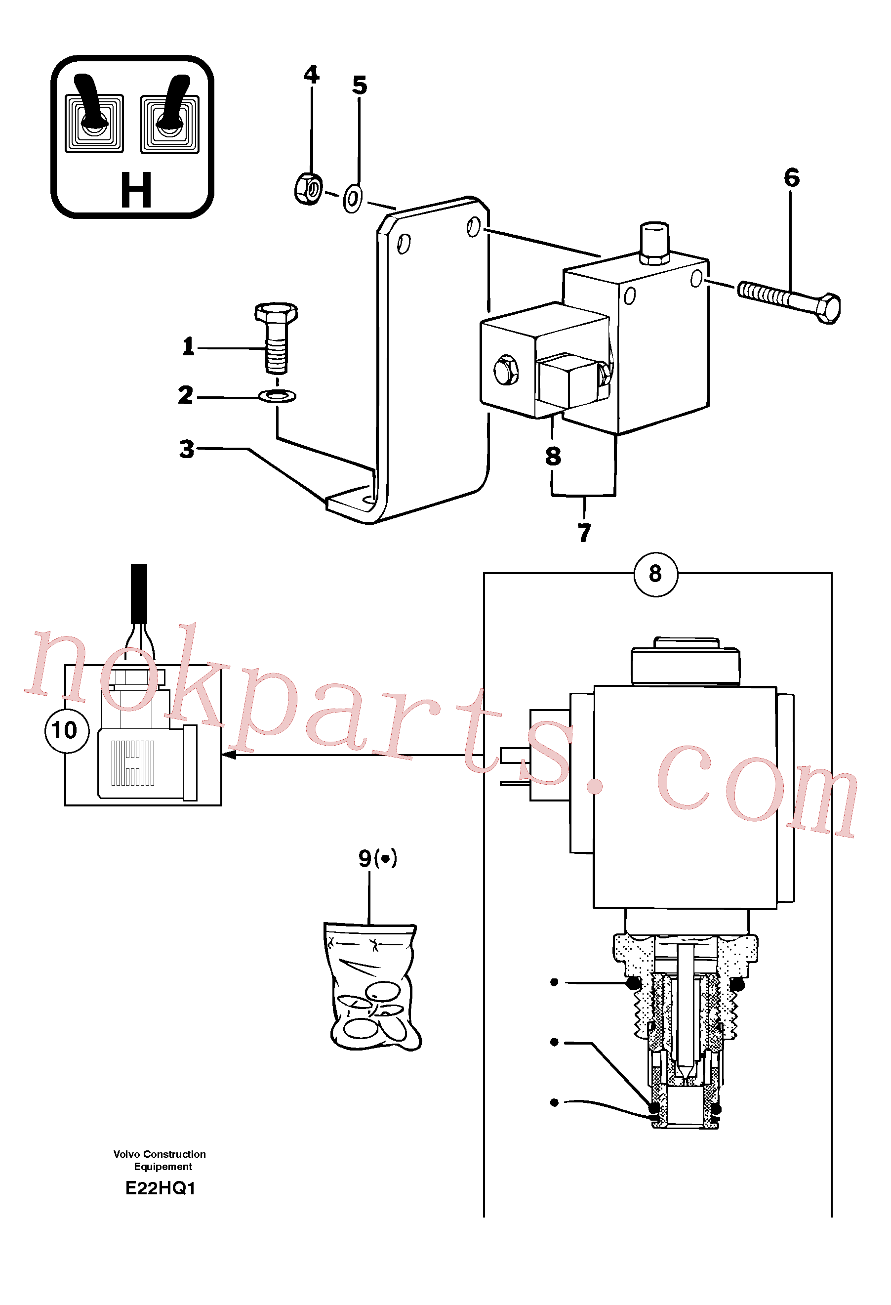 PJ5130051 for Volvo Hydraulic servo-assistance control lever(E22HQ1 assembly)