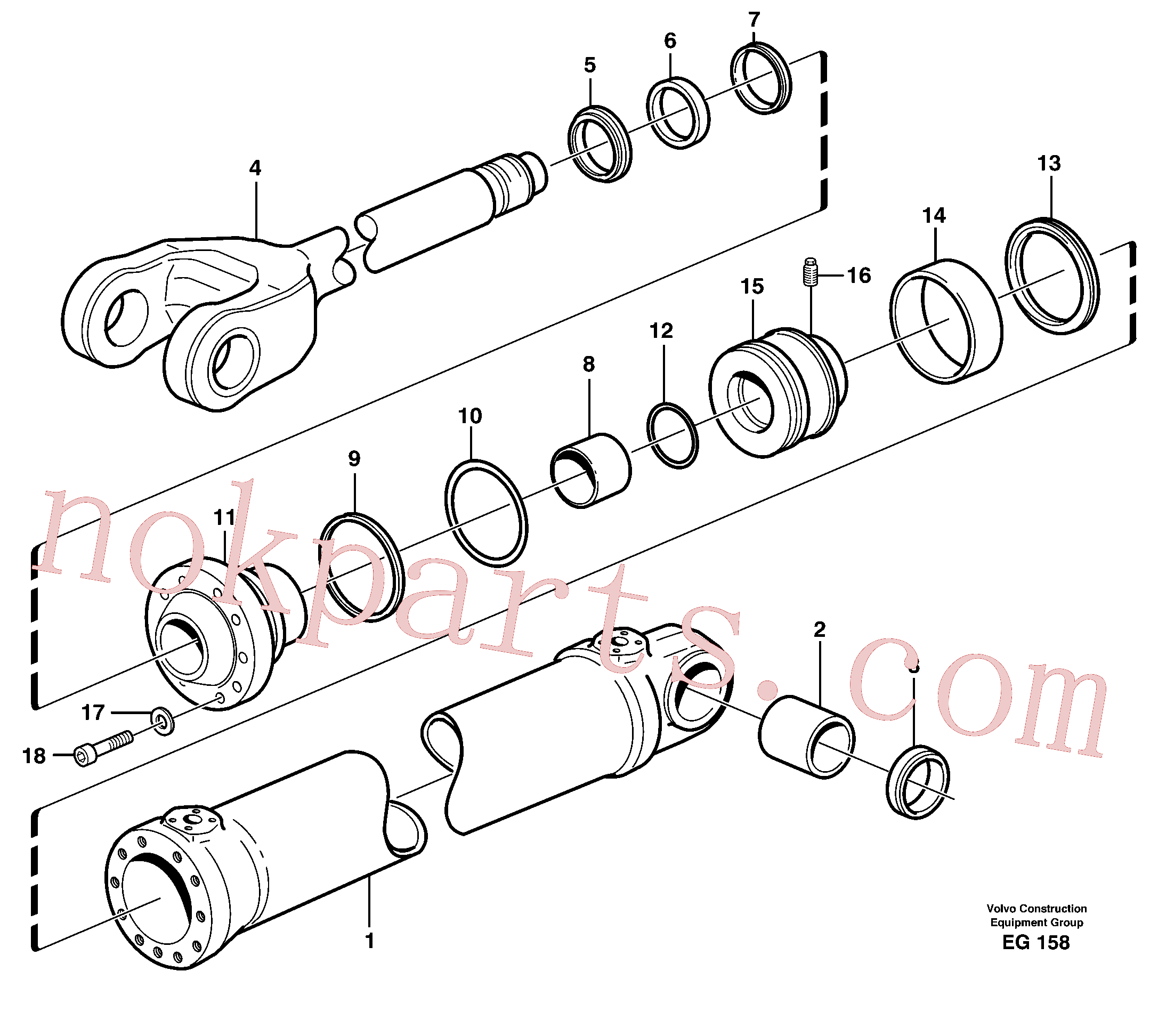 VOE11088029 for Volvo Hydraulic cylinder, lifting(EG158 assembly)