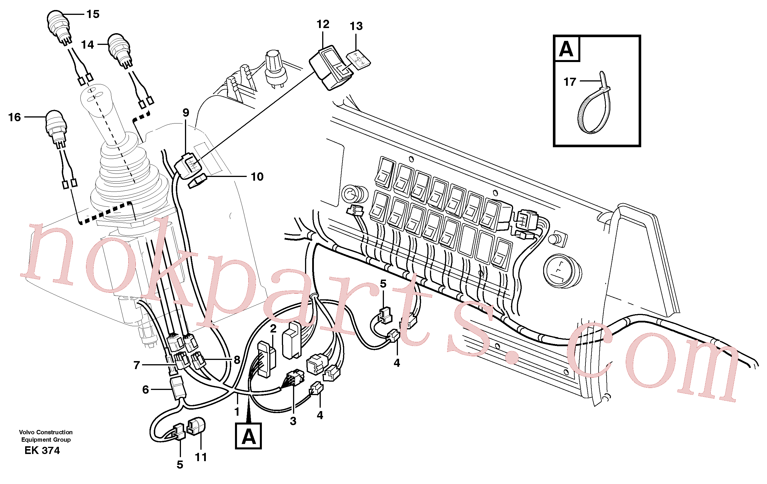 VOE948294 for Volvo Cable harnesses, single lever control.(EK374 assembly)