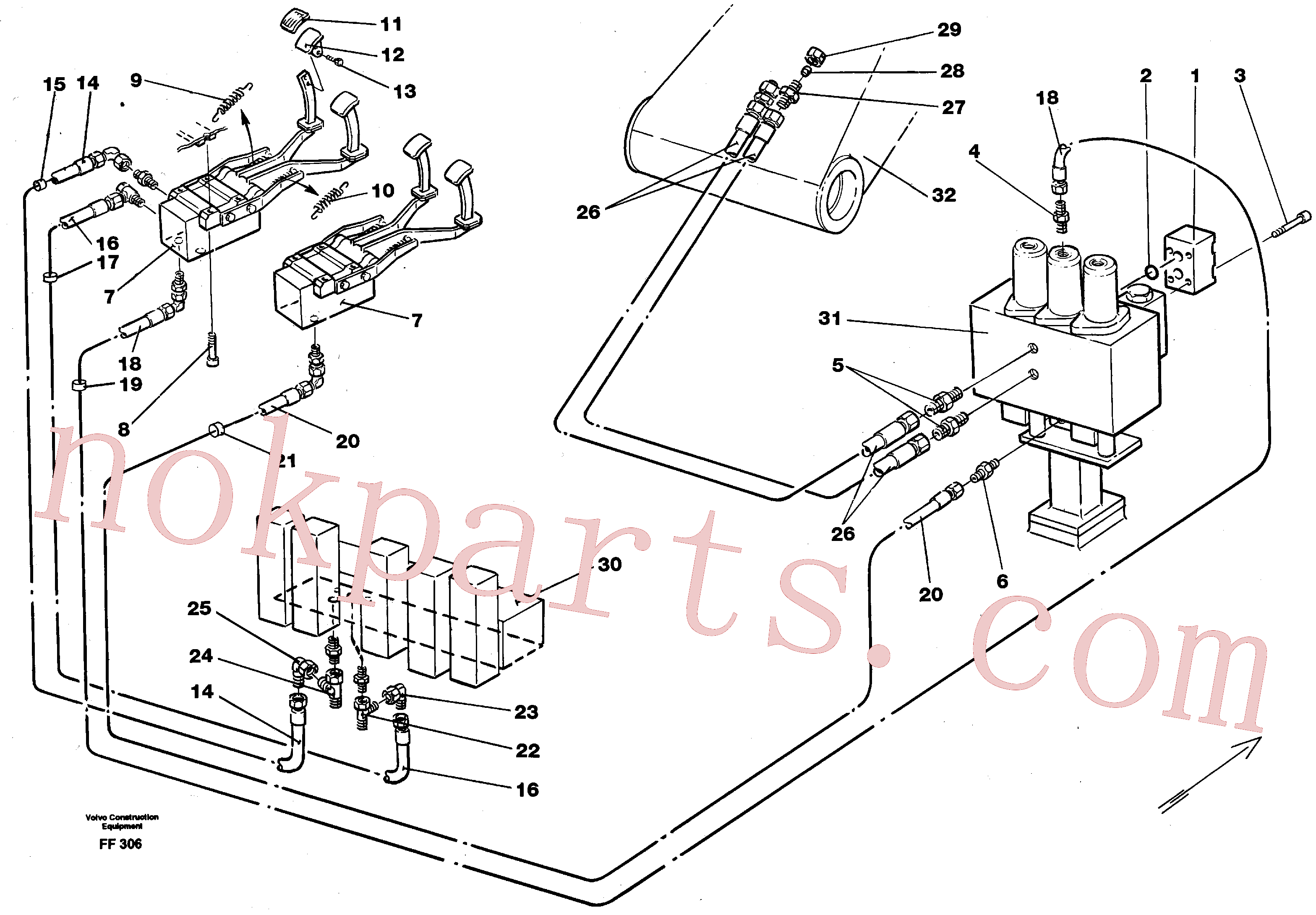 VOE14213152 for Volvo Slope bucket/rotating grab hydraulics in base machine(FF306 assembly)