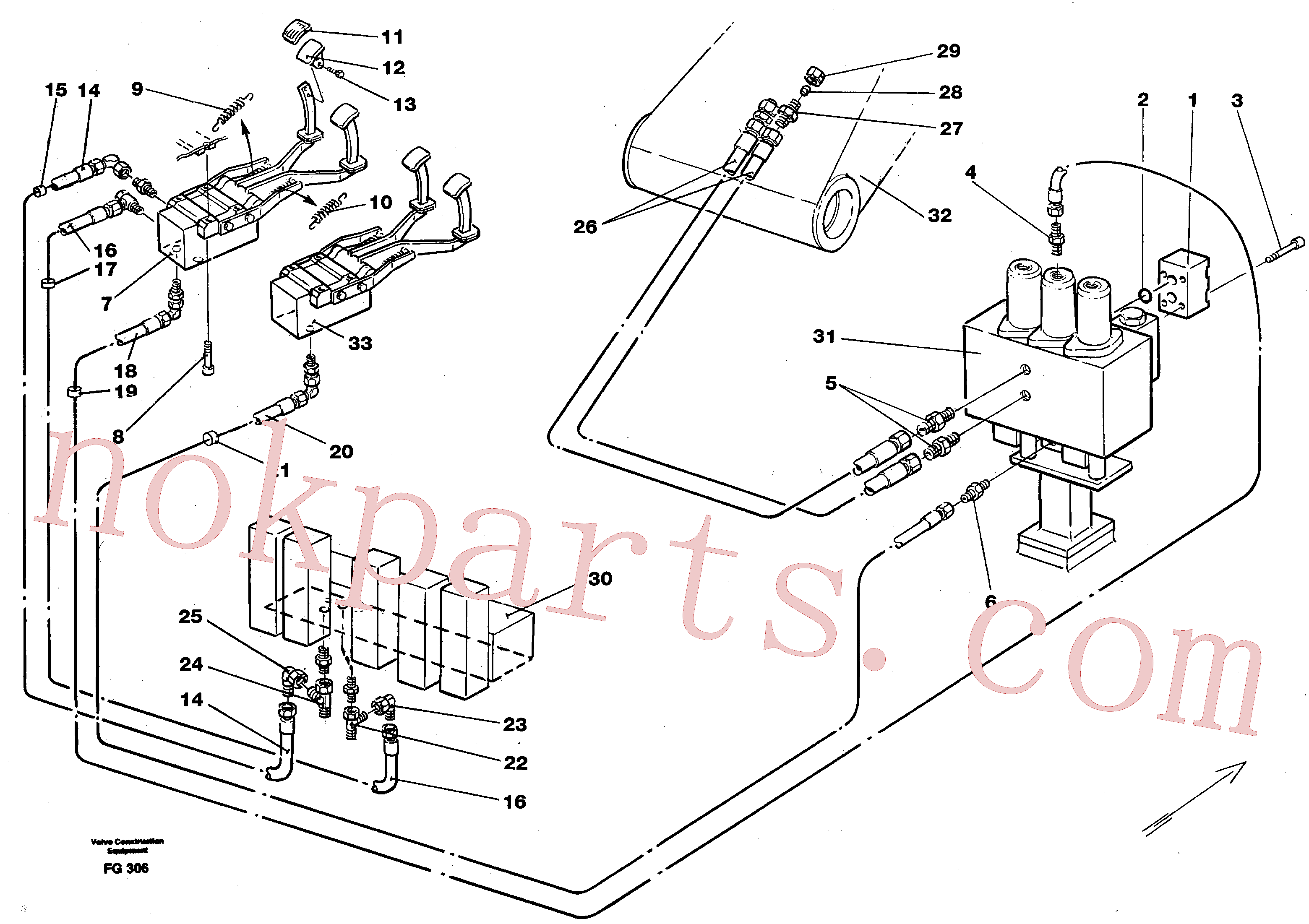 VOE14213152 for Volvo Slope bucket/rotating grab hydraulics in base machine(FG306 assembly)