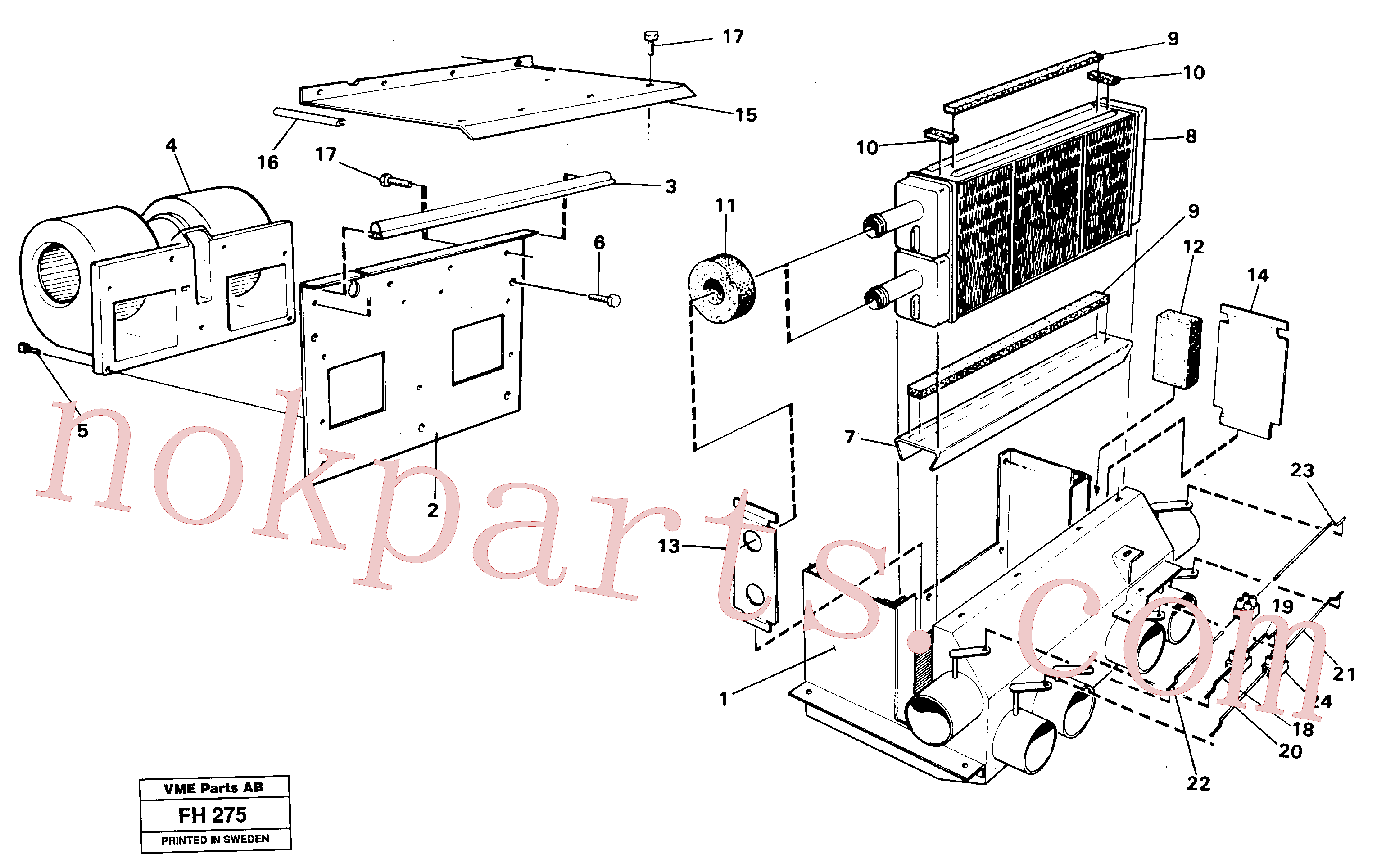 VOE14248792 for Volvo Cab heater(FH275 assembly)