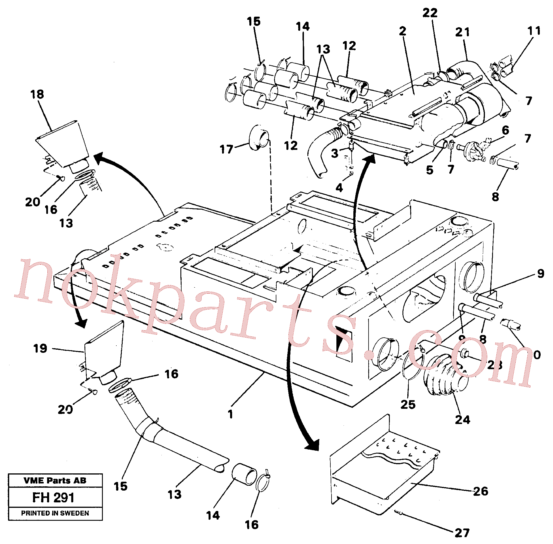 VOE14215726 for Volvo Cab heater with fitting parts(FH291 assembly)