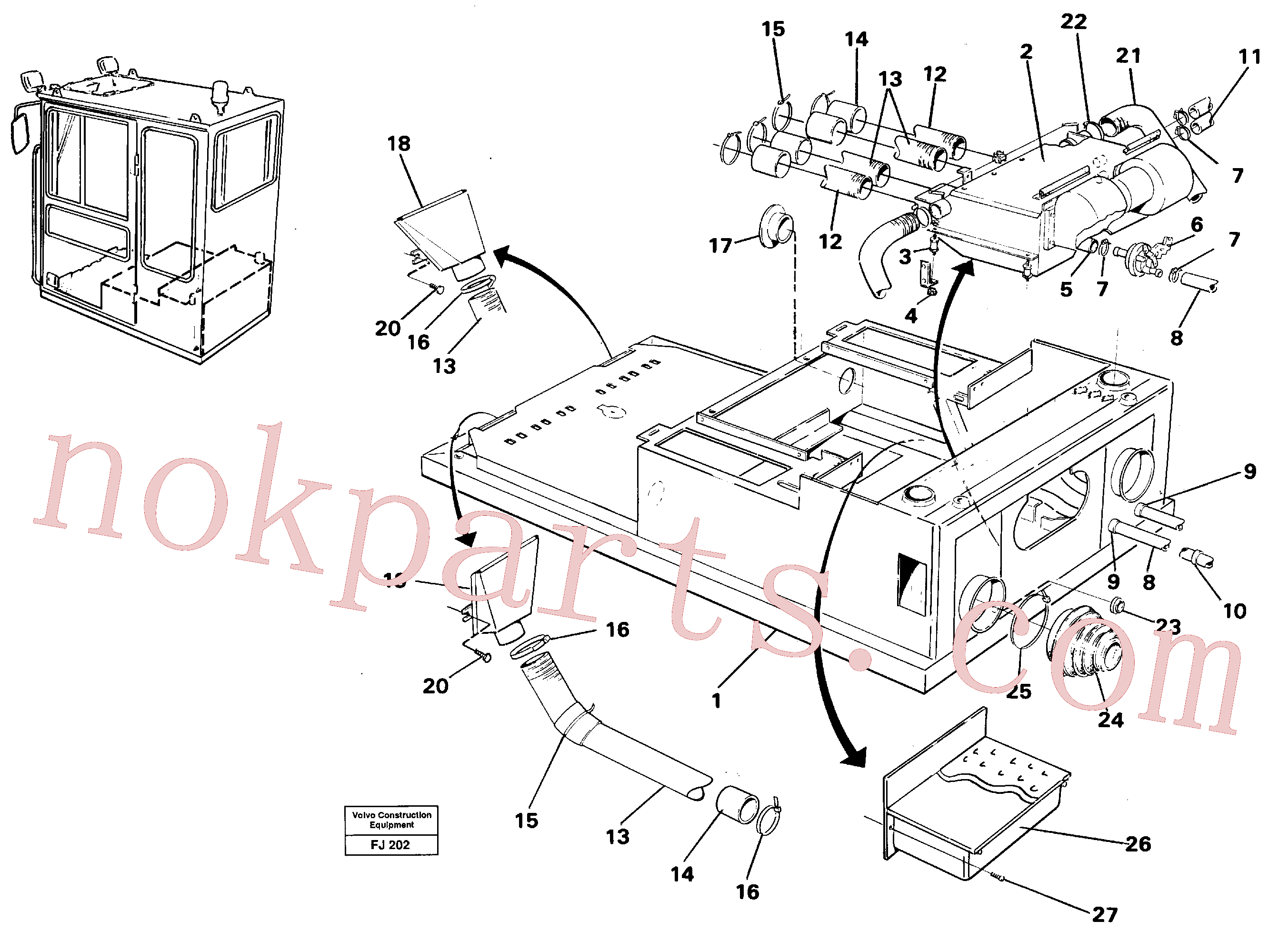 VOE14245580 for Volvo Cab heater with fitting parts(FJ202 assembly)