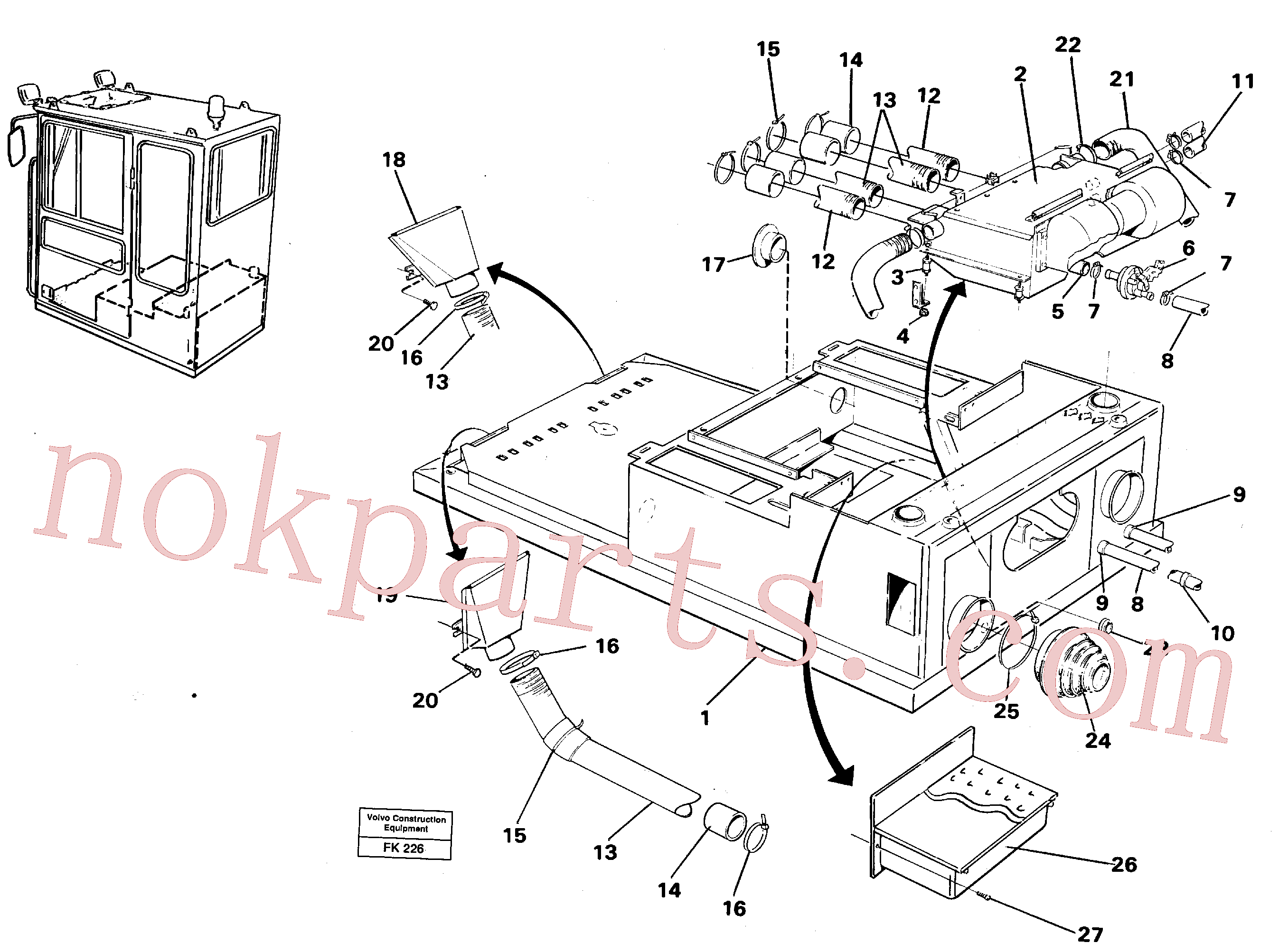 VOE14215726 for Volvo Cab heater with fitting parts(FK226 assembly)