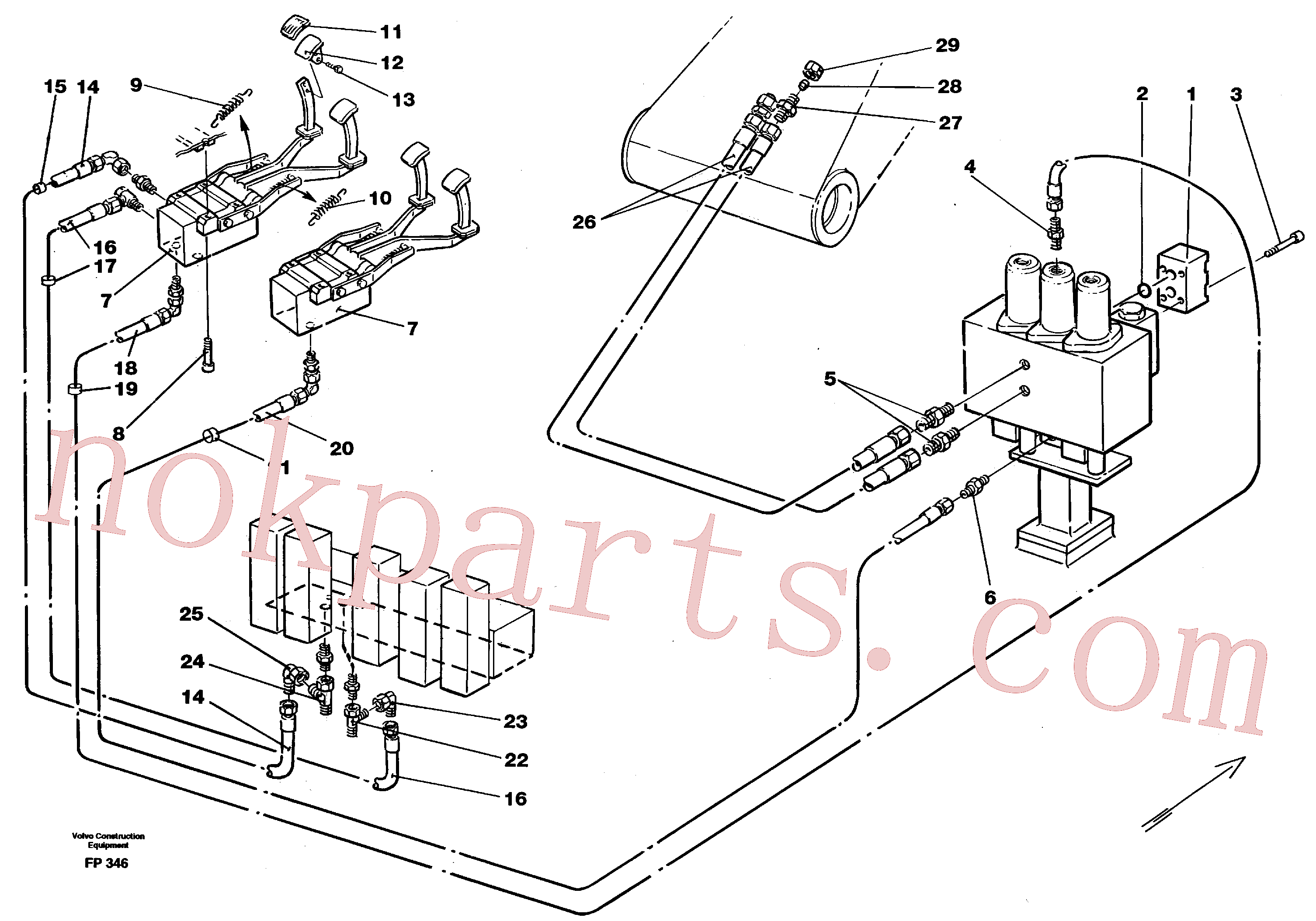 VOE14052740 for Volvo Slope bucket/rotating grab hydraulics in base machine(FP346 assembly)