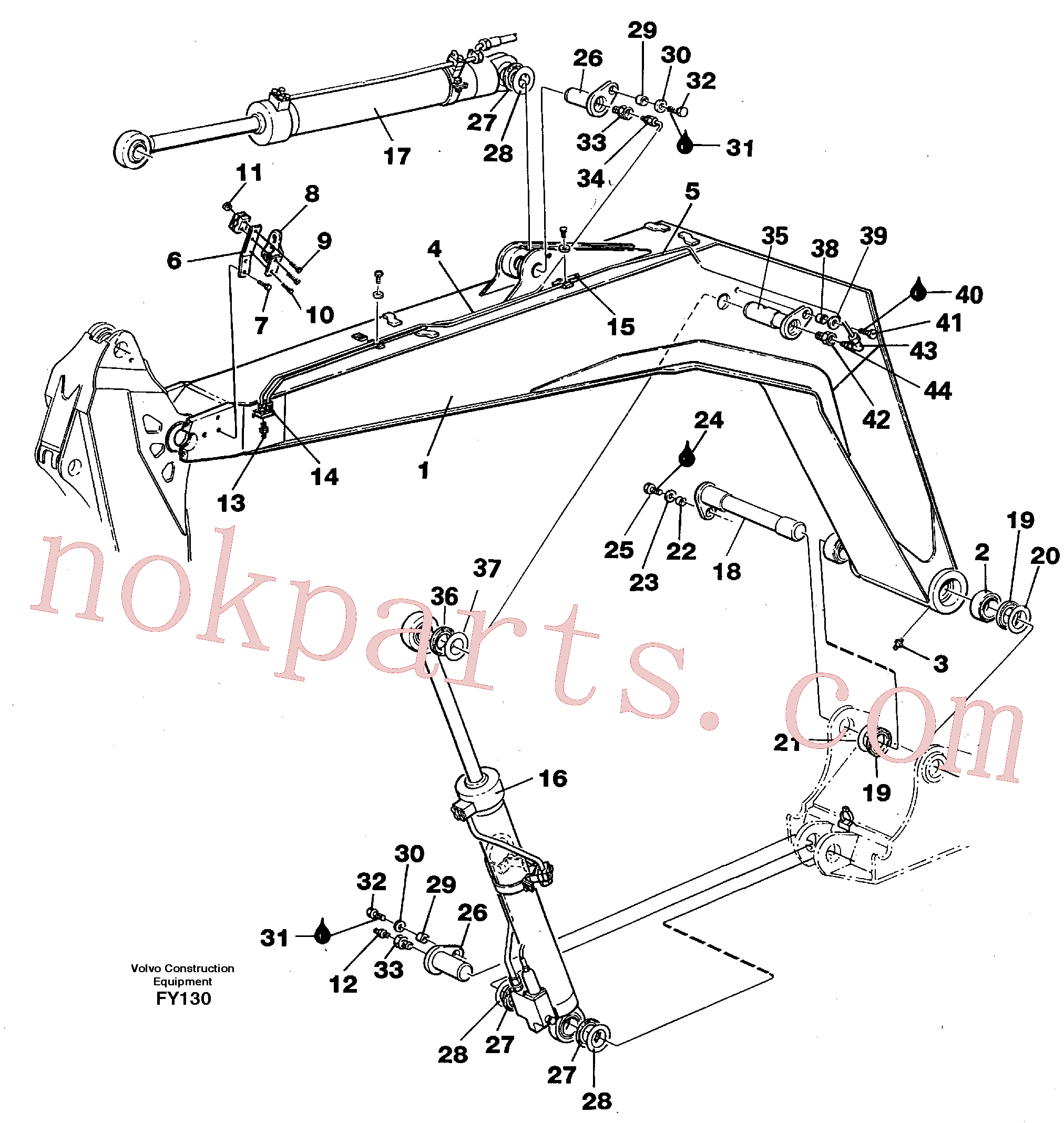 VOE955317 for Volvo Backhoe boom 4,40m(FY130 assembly)