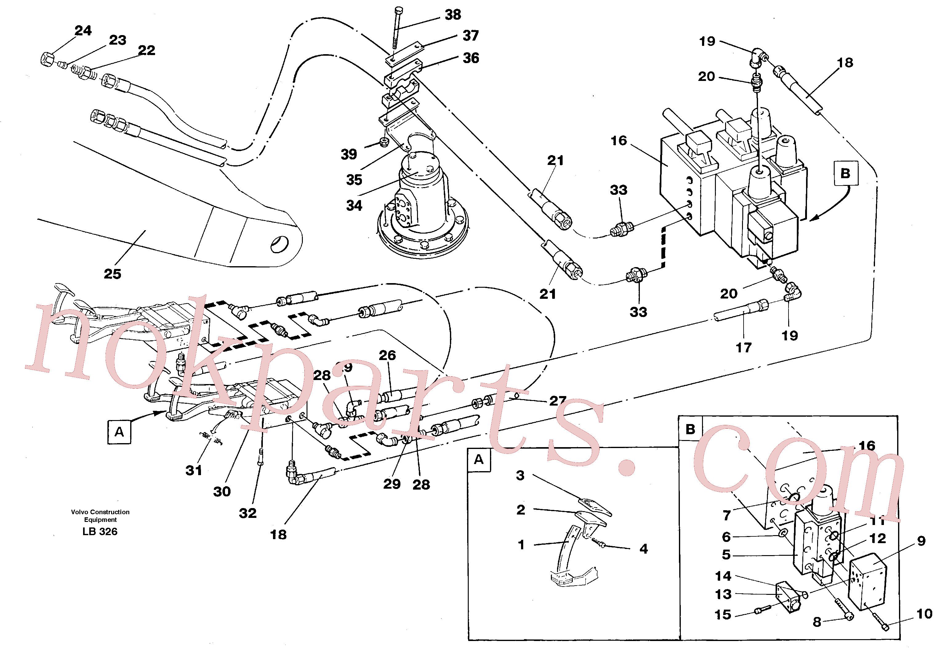 VOE14213152 for Volvo Slope bucket/rotating grab hydraulics in base machine(LB326 assembly)