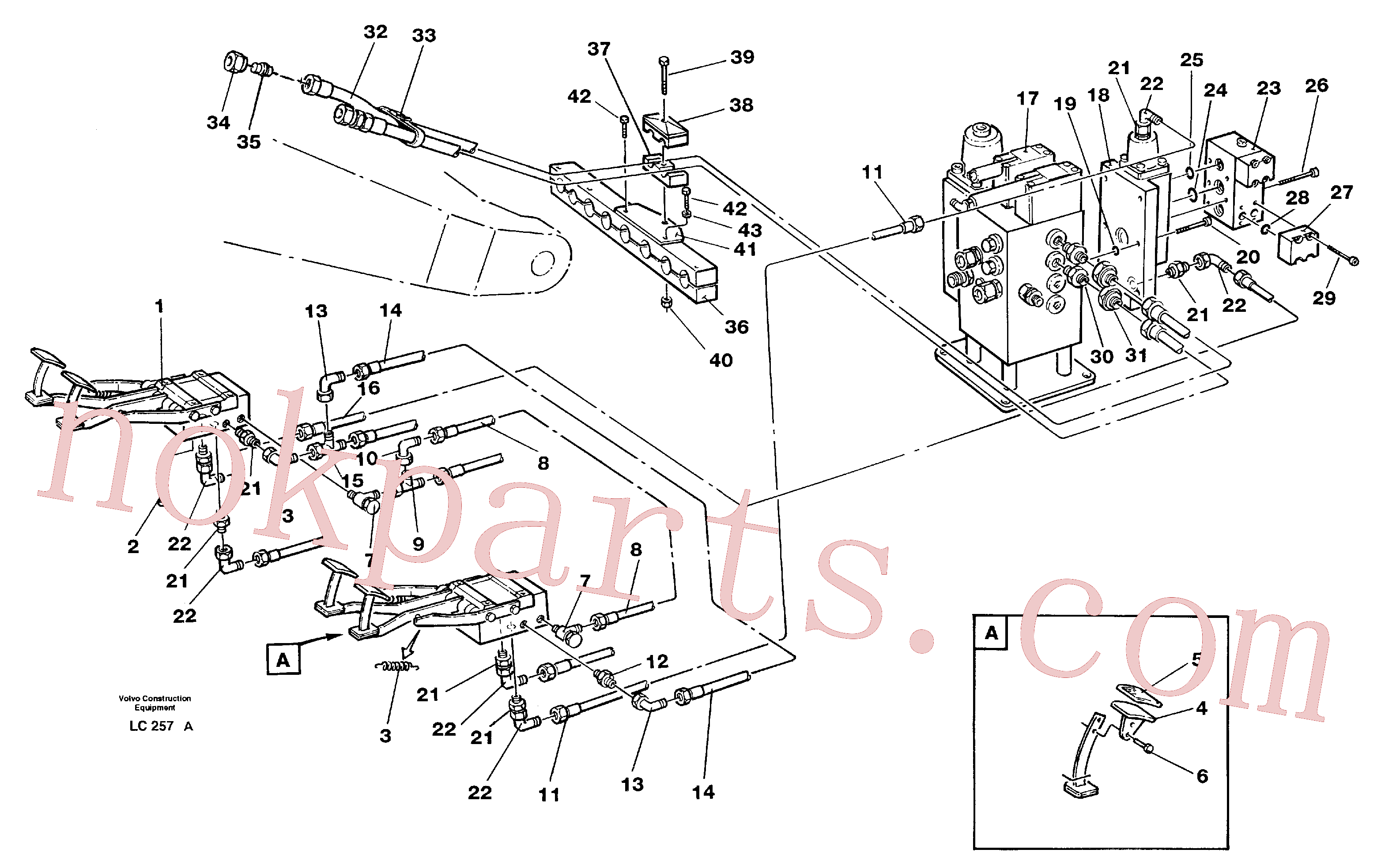 VOE14213152 for Volvo Pedal operated slope bucket hydraulics in base machine(LC257A assembly)