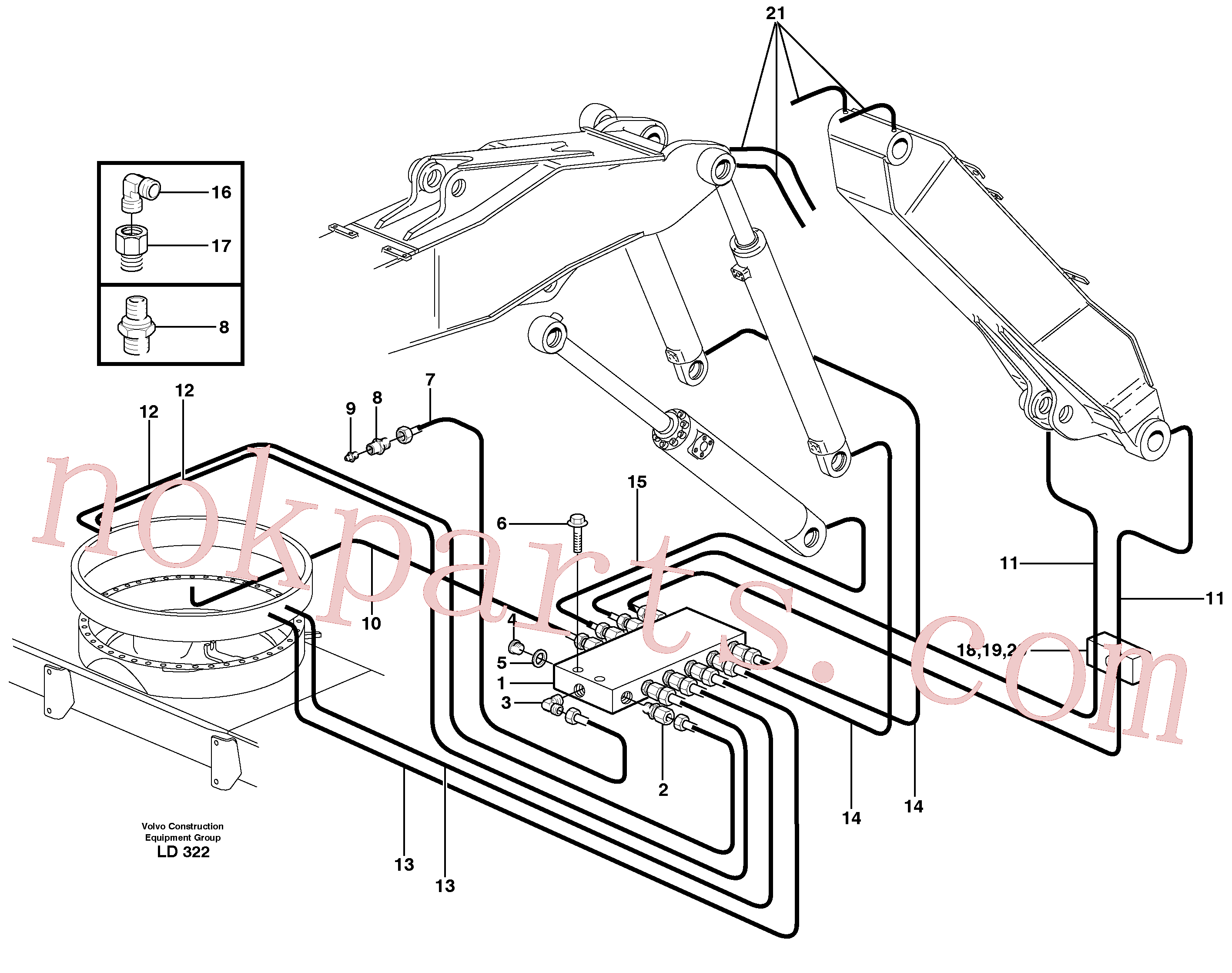 VOE14371972 for Volvo Central lubrication. slewing, adjustable boom(LD322 assembly)