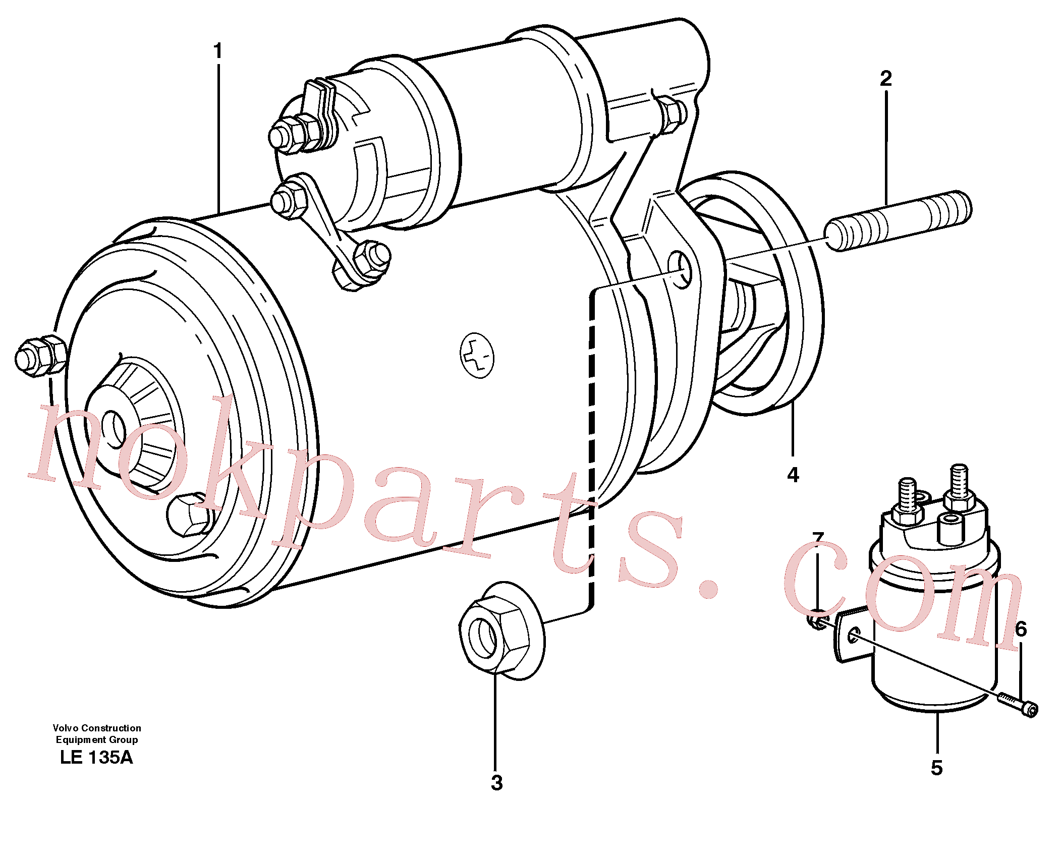 VOE479971 for Volvo Starter motor with assembling details(LE135A assembly)