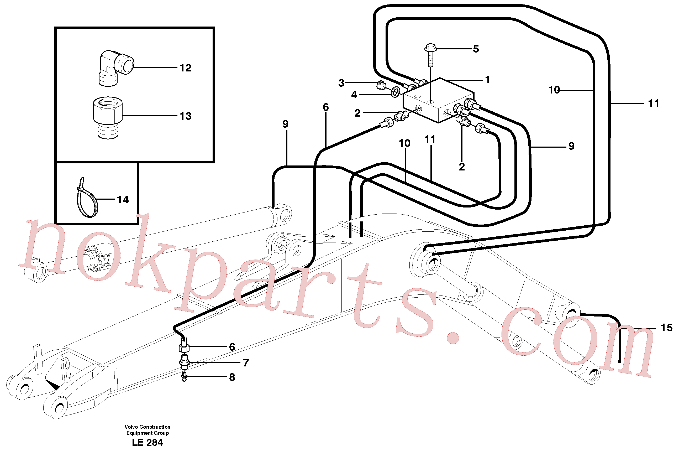 VOE14371972 for Volvo Central lubrication, mono boom(LE284 assembly)
