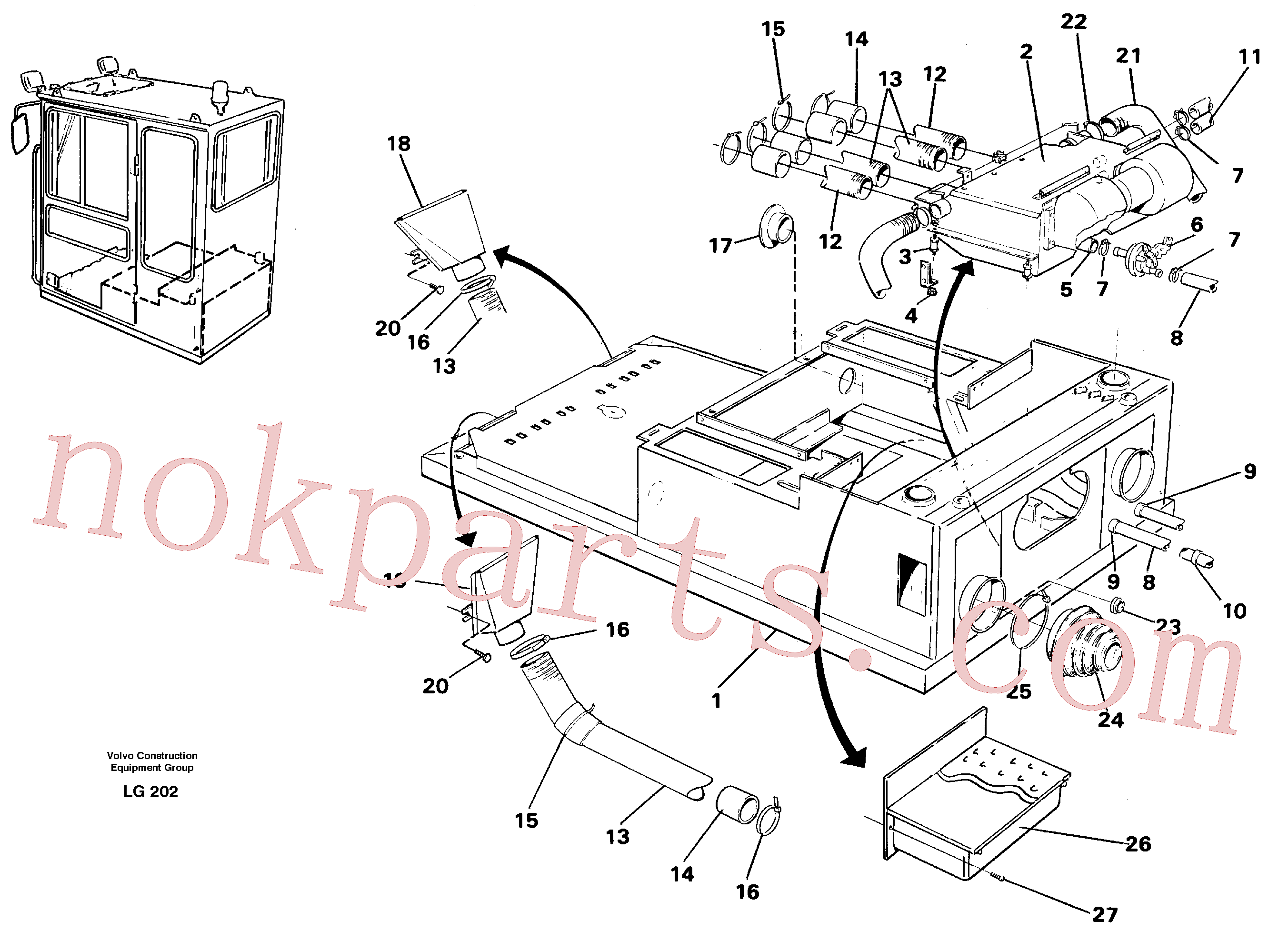 VOE14245580 for Volvo Cab heater with fitting parts(LG202 assembly)
