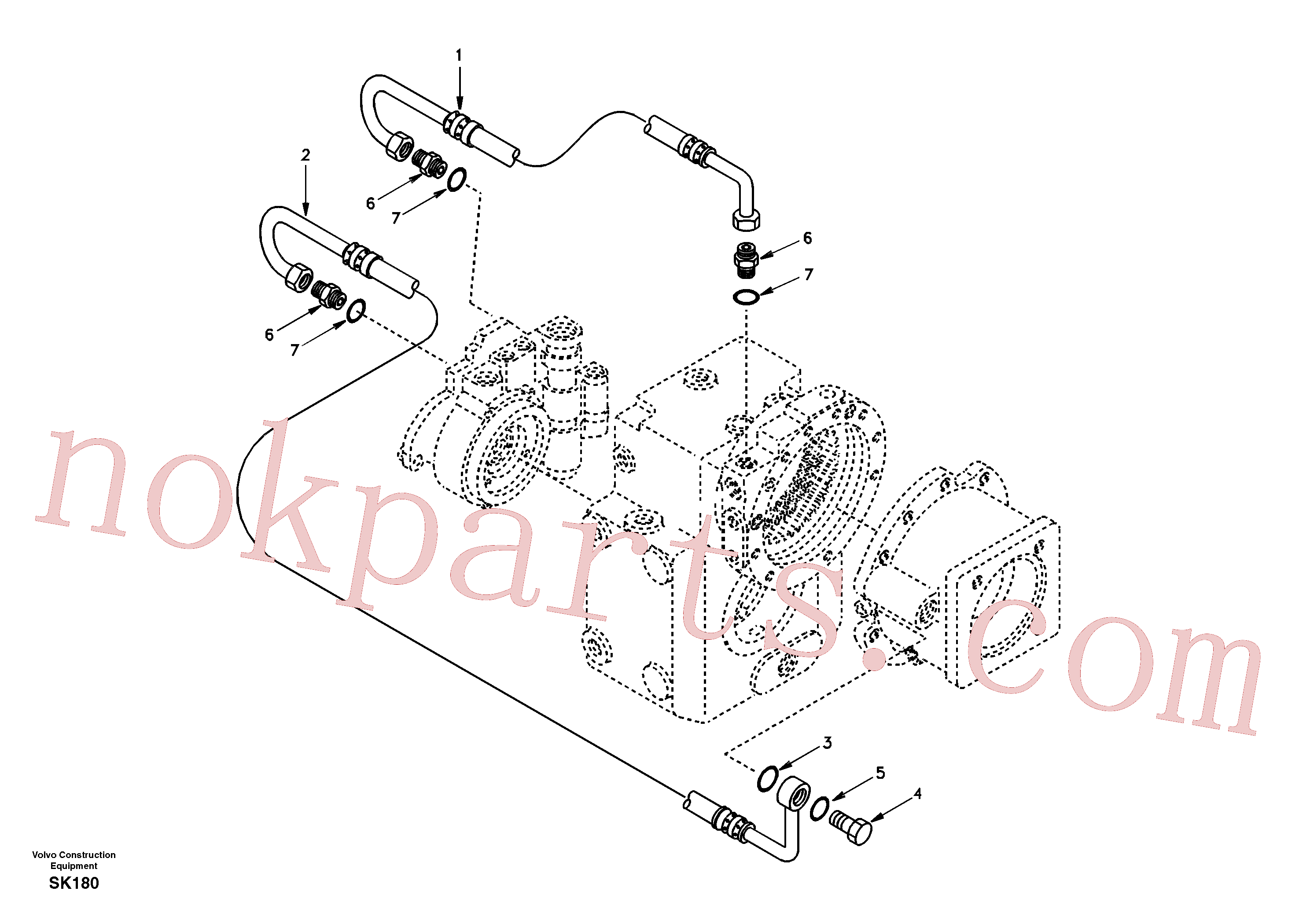 SA8220-03600 for Volvo Oil pipe(SK180 assembly)