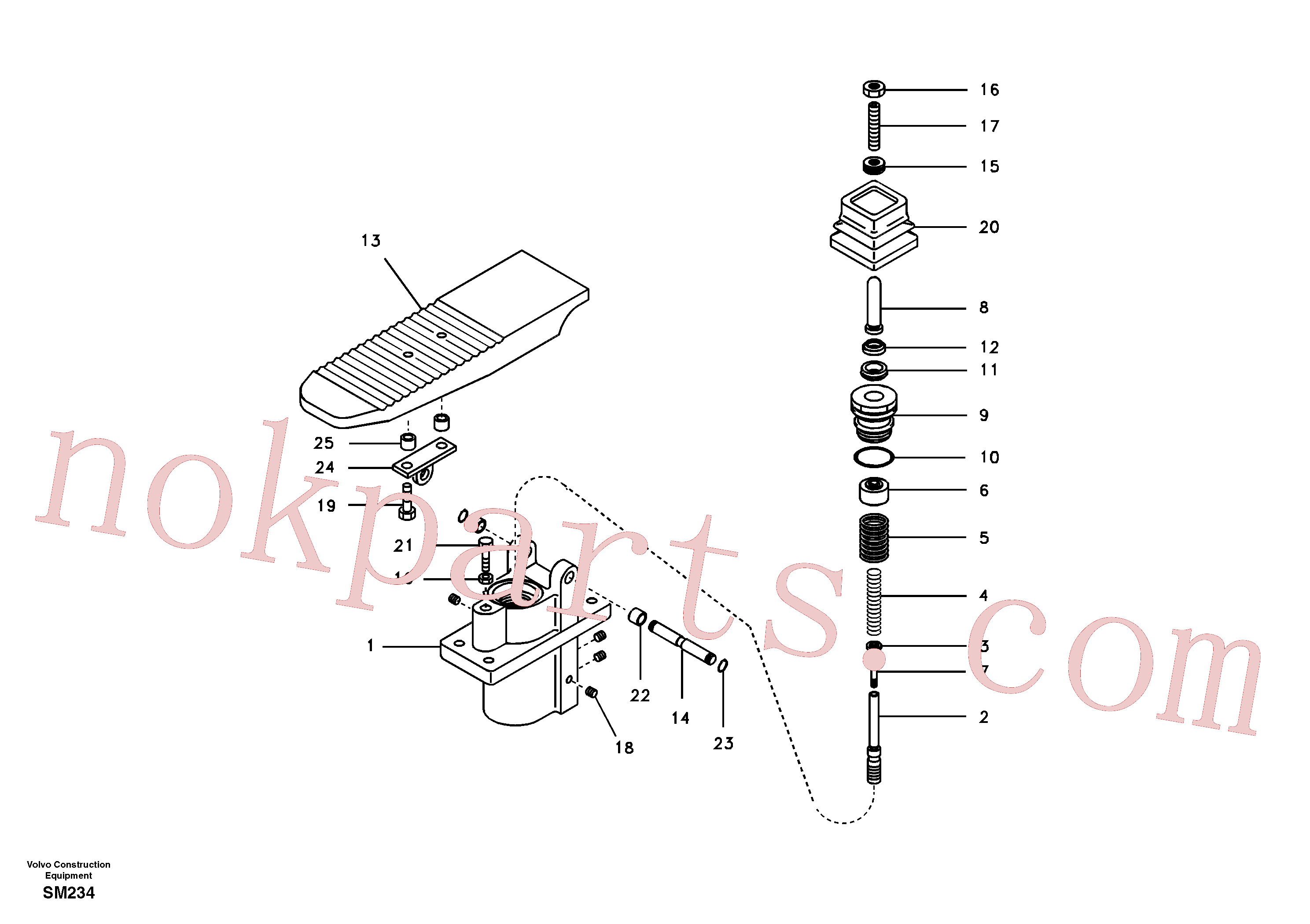 SA7263-00041 for Volvo Remote control valve pedal(SM234 assembly)