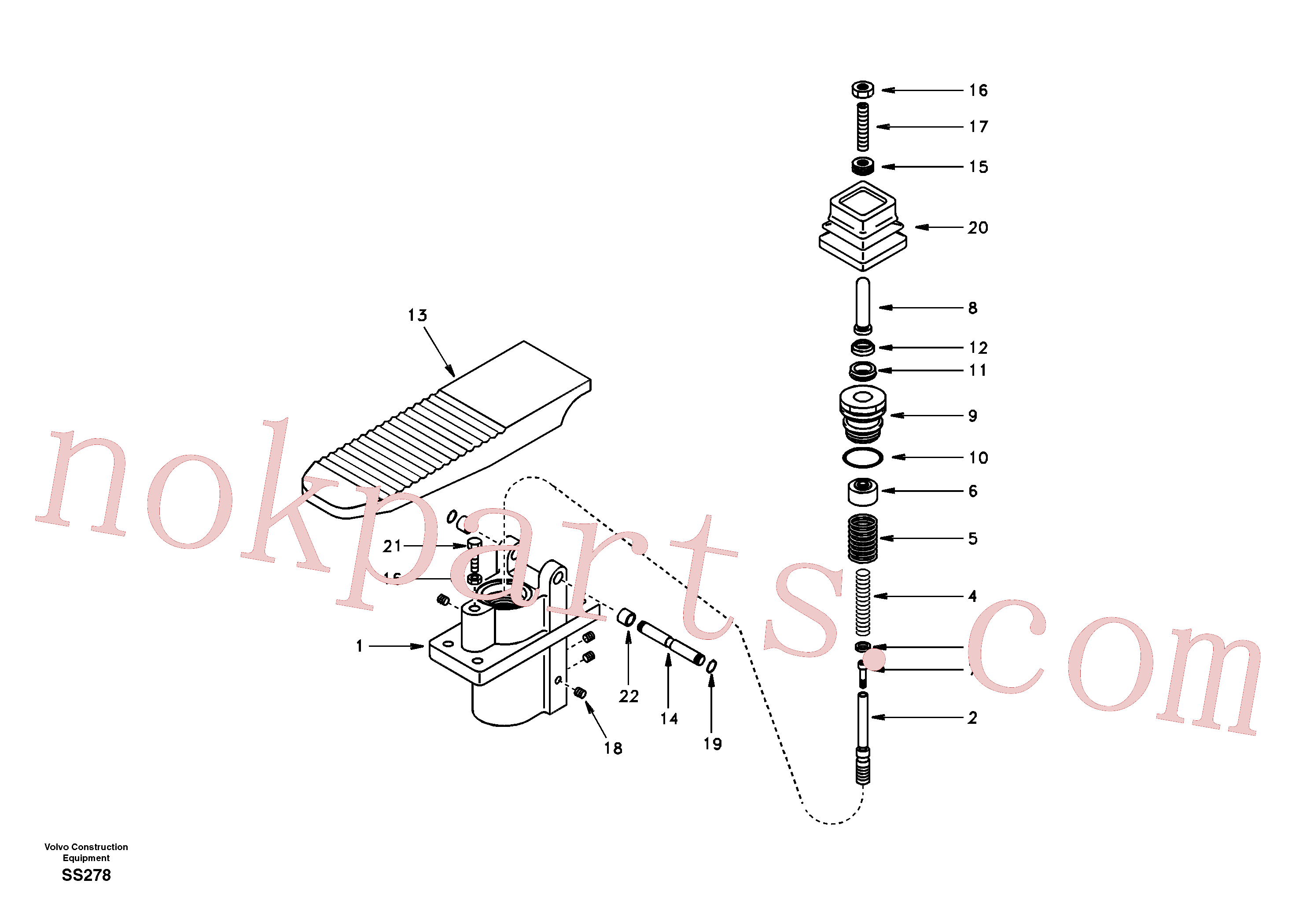 SA7263-00041 for Volvo Remote control valve pedal, travel motor(SS278 assembly)