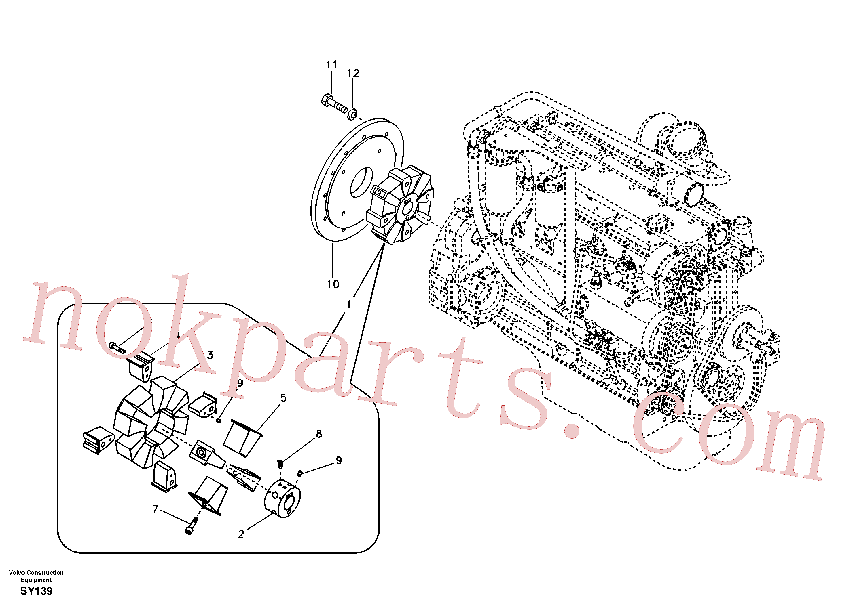 VOE14514873 for Volvo Pump gearbox with assembling parts(SY139 assembly)